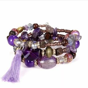 Multilayer Amethyst Crystal Beaded Bracelet